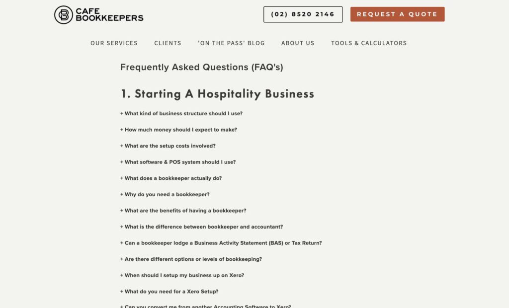Cafe Bookkeepers FAQ page example