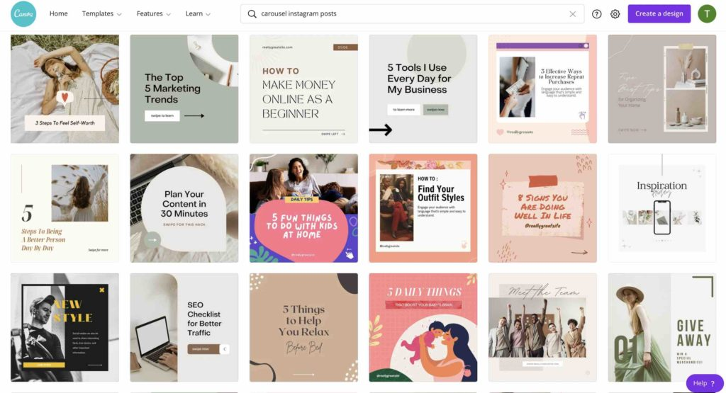 This image shows various templates for graphic Instagram posts