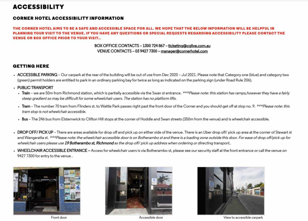 Screenshot of the Corner Hotel Accessibility Information page
