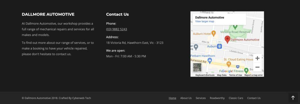 Dallmore Automotive website footer example screenshot
