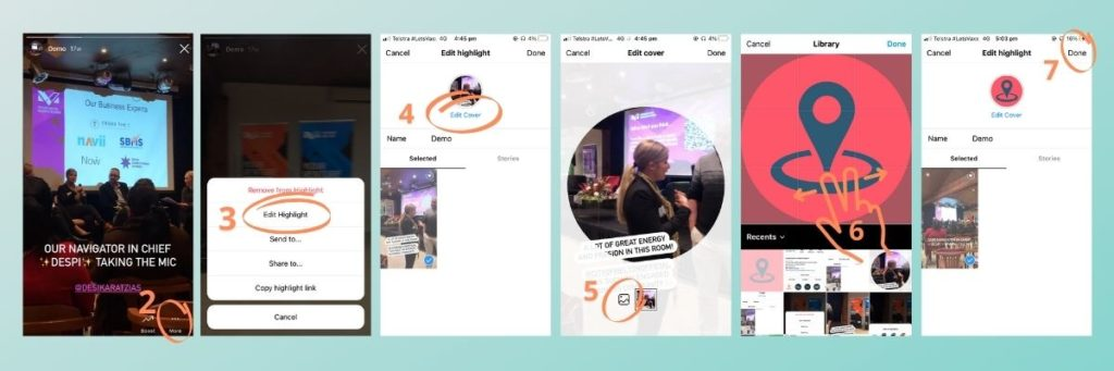 Screenshots demonstrating how to edit the cover of your Instagram story highlight