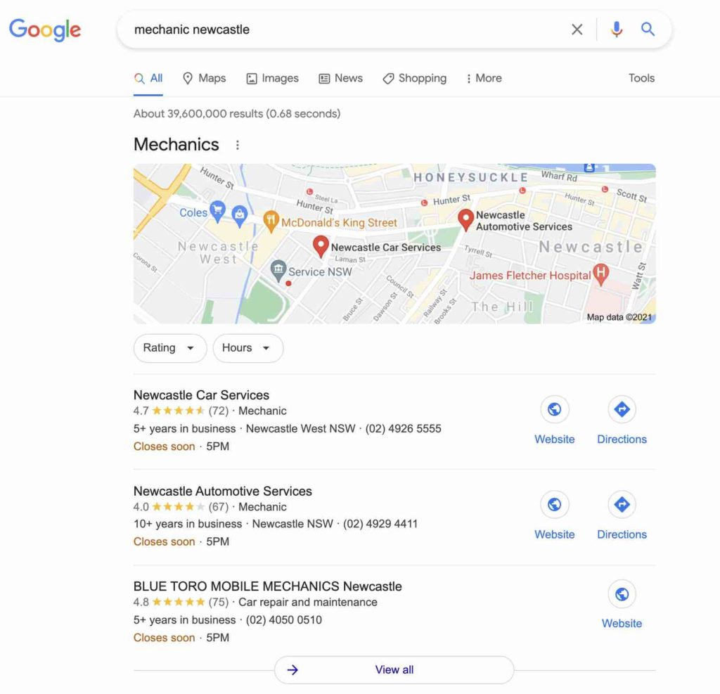 Screenshot of Google search showing top 3 results for the term 'mechanic newcastle'