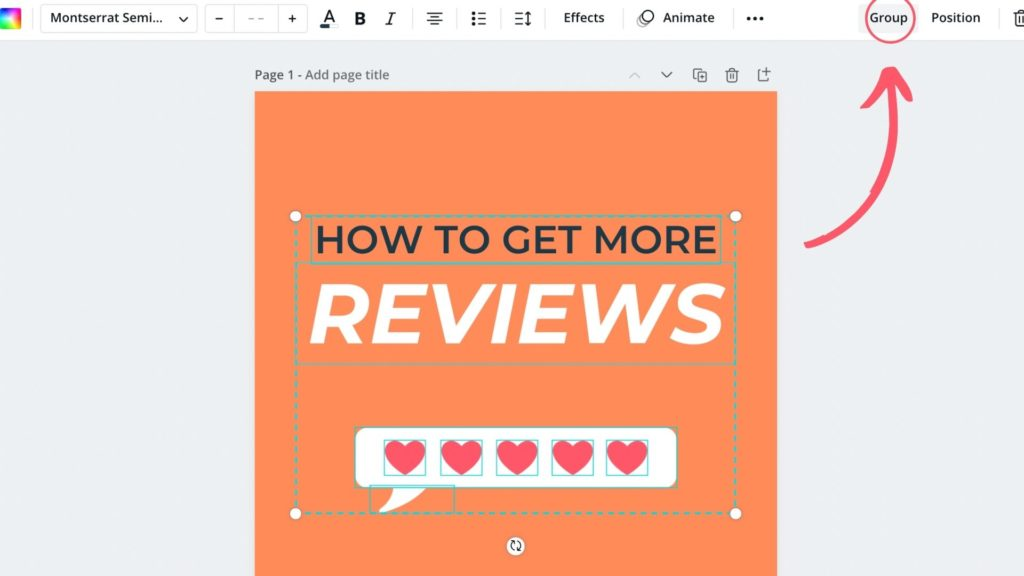 Learn how to use Canva across your marketing channels, grouping elements together on Canva