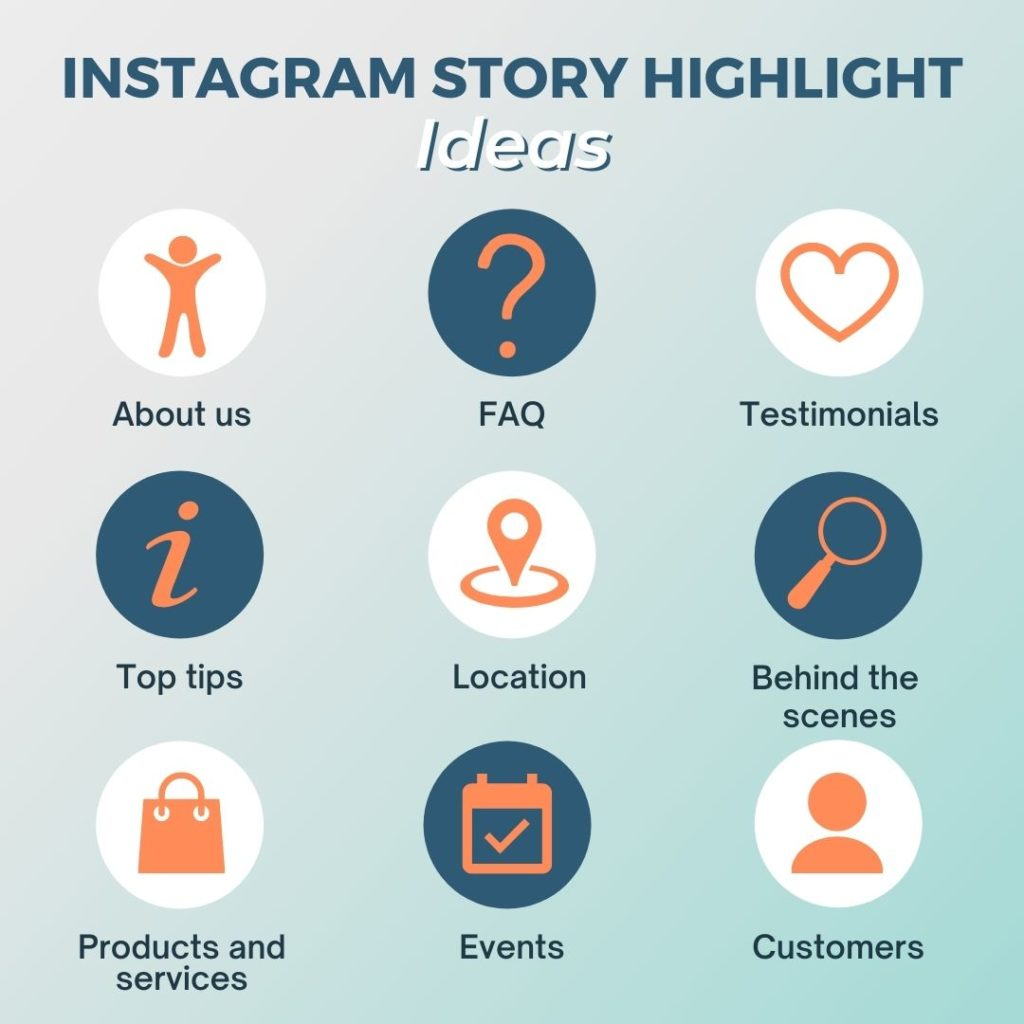 Diagram showing 9 different ideas for business story highlights. The nine ideas are: About us, FAQ, Testimonials, Top tips, Location, Behind the scenes, Products and services, Events and Customers