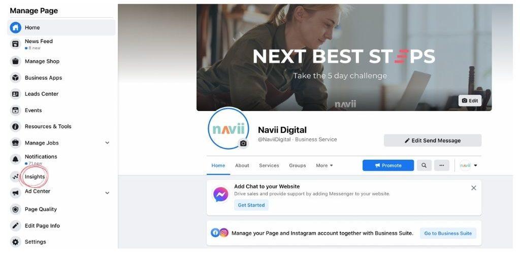 Navii Facebook Insights example
