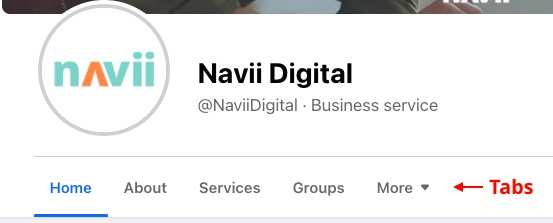 Navii Facebook page tabs screenshot