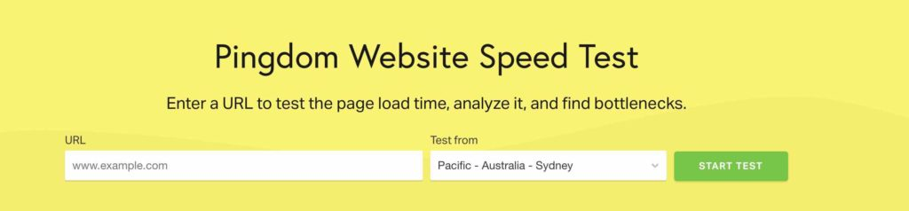 Pingdom speed test tool screenshot