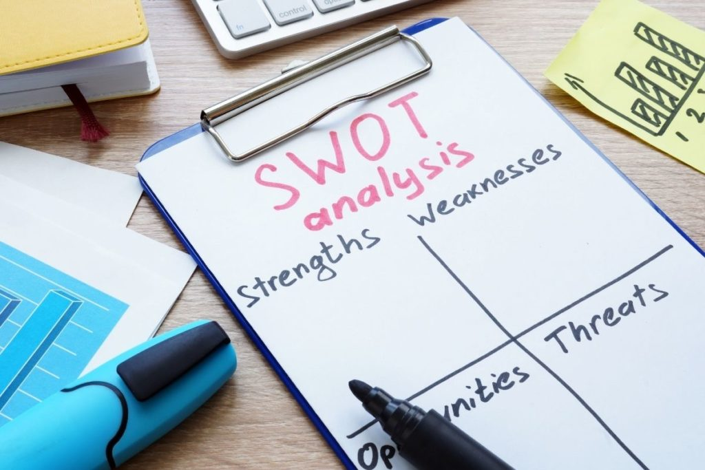 Clipboard with sheet of paper that has the following written: SWOT analysis Stengths, Weaknesses, Opportunities, Threats