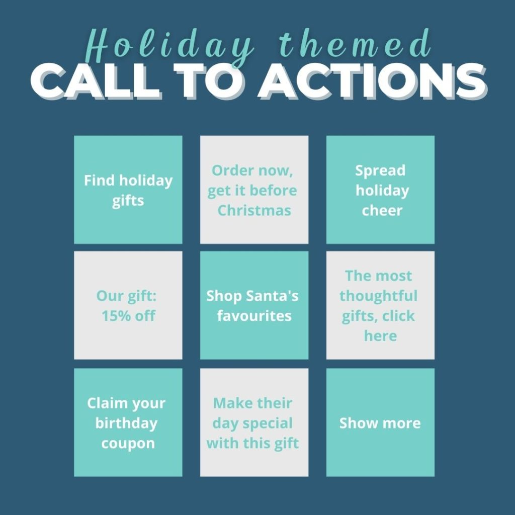 holiday calls to action example