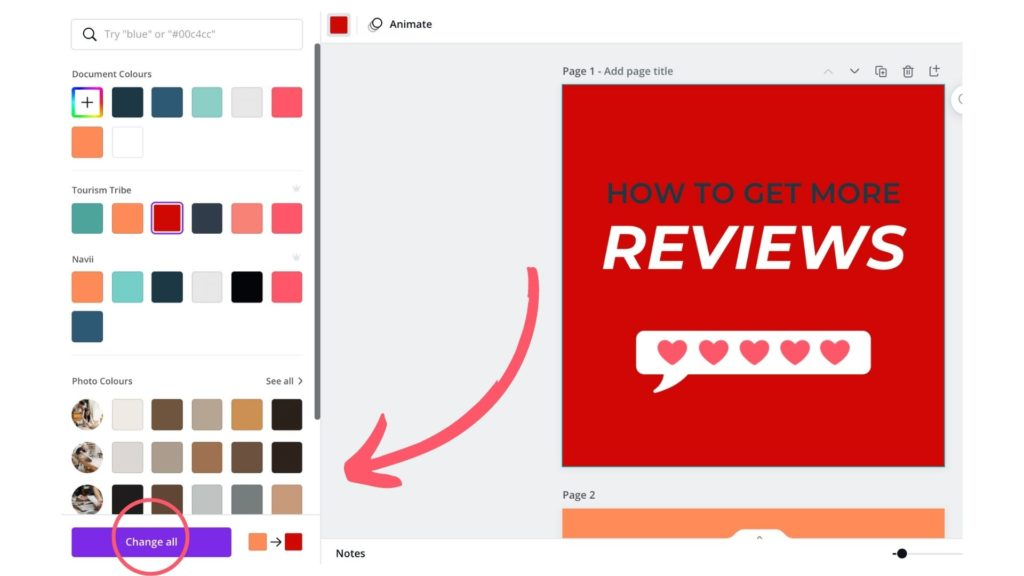 applying changes to all in Canva