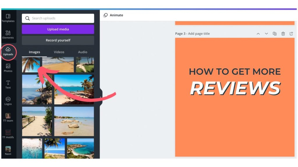 learn how to upload images on Canva